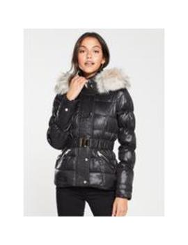 River Island Quilted Sleeve Padded Jacket  High Shine Black by River Island
