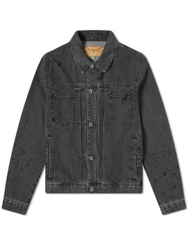 Mc Q Alexander Mc Queen Pleated Denim Jacket by Mc Q Alexander Mc Queen