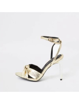 Gold Knot Front Heeled Sandals by River Island