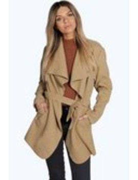 Short Belted Waterfall Coat Short Belted Waterfall Coat by Boohoo