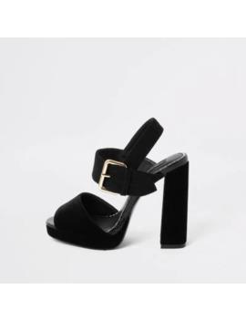 Black Velvet Wide Fit Platform Heel Sandals by River Island