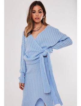 Blue Co Ord Wrap Tie Knitted Jumper by Missguided