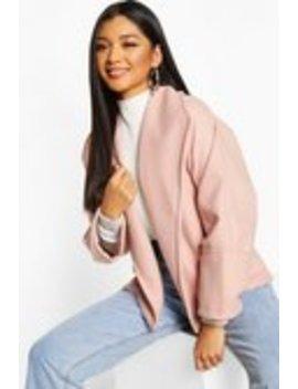 Wide Collar Belted Short Wool Look Coat Wide Collar Belted Short Wool Look Coat by Boohoo
