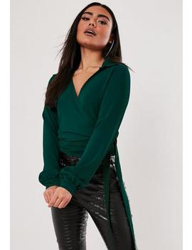 Green Tie Side Blouse by Missguided