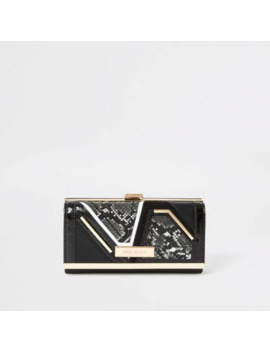 Black Snake Embossed Cliptop Purse by River Island