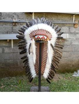 Indian Headdress Replica With Turkey Feathers & Beaded, Native American Carnival Costume, Medium by Etsy