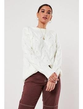 Ivory Cable Knit Jumper by Missguided