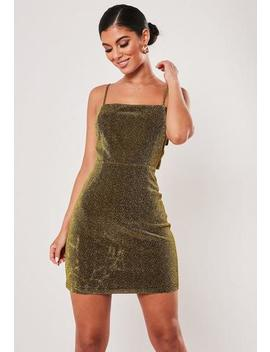 Tall Gold Sparkle Tie Back Mini Dress by Missguided