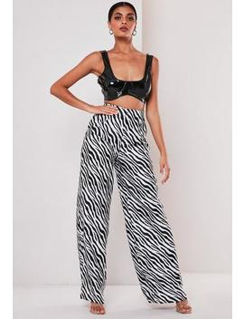 Petite Black Zebra Print Wide Leg Trousers by Missguided