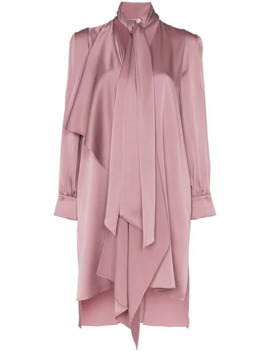 Tie Neck Asymmetric Satin Dress by Fendi
