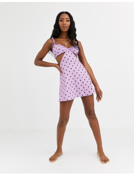 Asos Design Cut Out Slinky Jersey Beach Dress In Lilac Spot Print by Asos Design