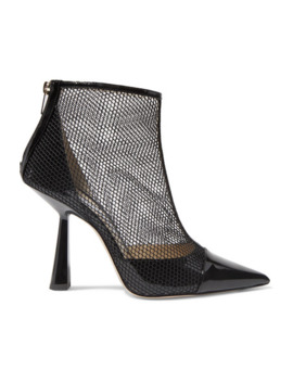 Kix 100 Fishnet And Patent Leather Ankle Boots by Jimmy Choo