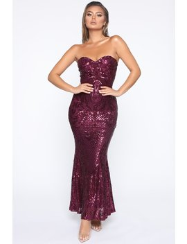 Out All Night Sequin Mermaid Dress   Plum by Fashion Nova