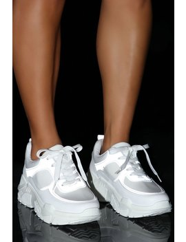 Lightning Reflective Sneakers   White by Fashion Nova