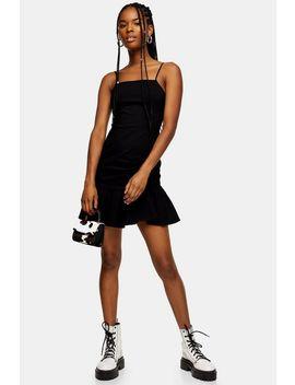 Black Bengaline Frill Mini Dress by Topshop