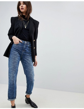 Asos   Original Mom   Jean à Délavage Authentique Moyen Et Imprimé à Logo Délavé by Asos Collection