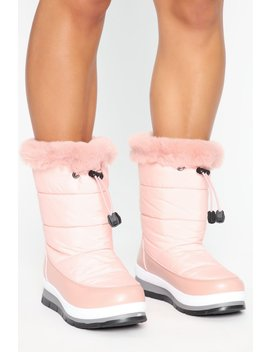 Baby It's Cold Flat Boots   Pink by Fashion Nova