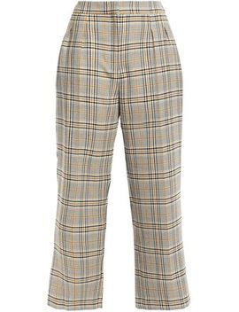 Pattern Cropped Checked Woven Wide Leg Pants by Claudie Pierlot