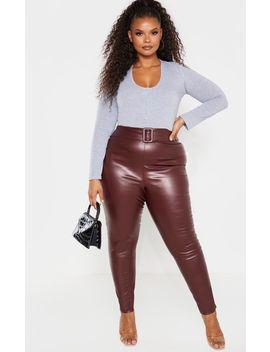 Plus Wine Pu Belt Detail Pants by Prettylittlething
