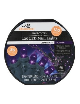 Way To Celebrate Halloween 120 Count Led Mini Lights, Purple by Way To Celebrate