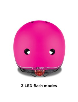 Globber Evo Helmet Neon Pink With Lights by Smyths