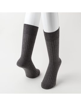 Men Supima® Cotton Wide Ribbed Socks by Uniqlo