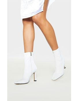 White Pu Cake Stand Heel Square Toe Sock Boot by Prettylittlething