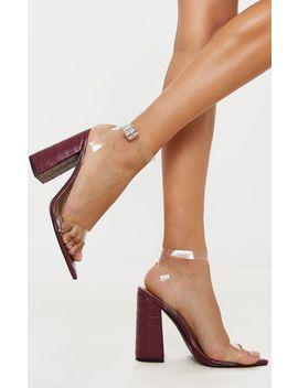 Burgundy Croc Clear Strap Block Heel Point Toe Sandal by Prettylittlething