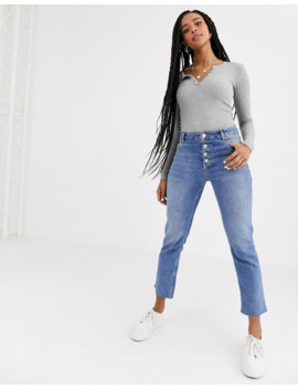 Pull&Amp;Bear Basic Long Sleeved Top In Grey by Pull&Bear