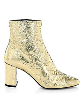 Lou Crinkle Metallic Ankle Boots by Saint Laurent