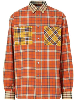 Contrast Check Cotton Flannel Oversized Shirt by Burberry