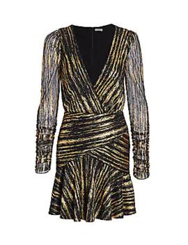Long Sleeve Metallic Dress by Ml Monique Lhuillier