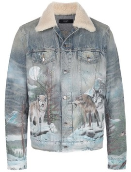 Wolf Print Denim Jacket by Amiri