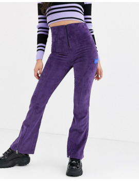 Local Heroes   Corduroy Flared Met Hoge Taille En Rits In Paars by Asos