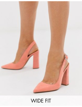 Asos Design Wide Fit Penley Slingback High Heels In Peach by Asos Design