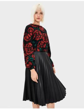 Sweater Cropped Com Rosas Malha   Bershka Portugal by Bershka