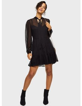 Black Flocked Smock Mini Dress by Miss Selfridge