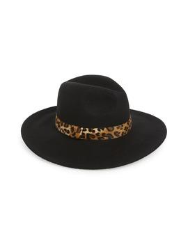 Leopard Trim Felt Panama Hat by Halogen