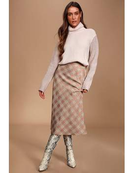 Mills Taupe Plaid Midi Skirt by Lulus