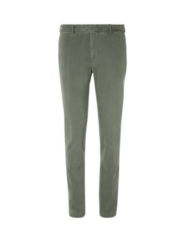 Grey Green Slim Fit Cotton Blend Gabardine Suit Trousers by Boglioli