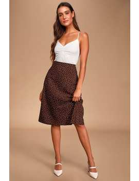 Whitni Brown Polka Dot Midi Slip Skirt by Lulus