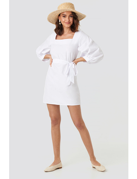 Puff Sleeve Square Neck Tie Dress White by Na Kd Trend