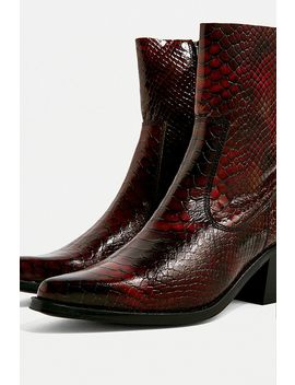 Uo Dani Snakeski Leather Western Boots by Urban Outfitters