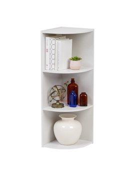 Iris 3 Tier Wood Corner Curved Shelf Organizer, White by Iris Usa