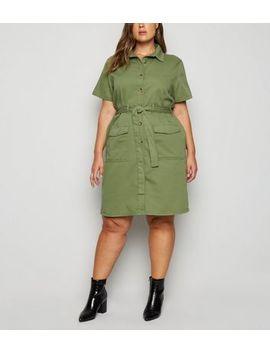 Curves Khaki Utility Shirt Dress by New Look