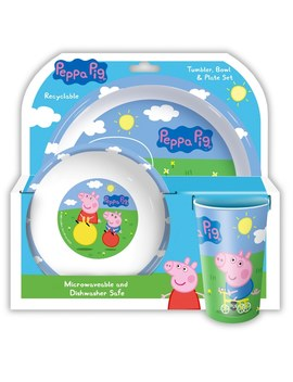 Peppa Pig And George Tumbler, Bowl And Plate Set Assortment by Smyths