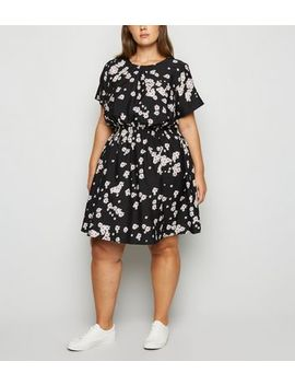 Curves Black Floral Shirred Waist Dress by New Look