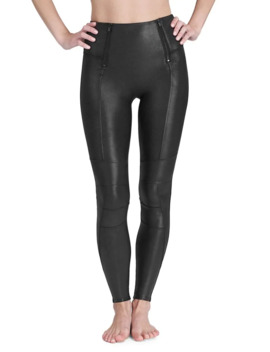 Faux Leather Hip Zip Leggings by Spanx