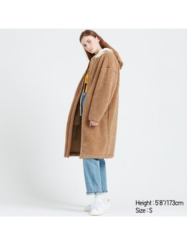 Women Fleece Lined Collarless Coat by Uniqlo