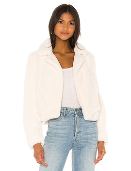 Cream Faux Fur Jacket In Cream by Blanknyc